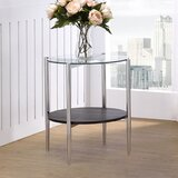 Haycroft Glass Top End Table with Storage by Orren Ellis