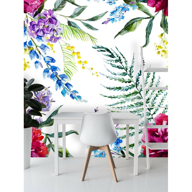 Bungalow Rose Magana Removable Floral Mix 6 25 L X 75 W Peel And Stick Wallpaper Roll Wayfair