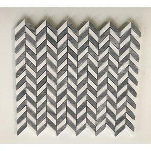 Thos Mini Chevron 0 38 X 1 Marble Mosaic Tile In Gray White