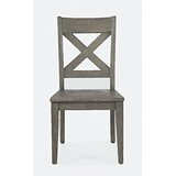 Jarod Solid Wood Cross Back Side chair in Grey (Set of 2) by Laurel Foundry Modern Farmhouse