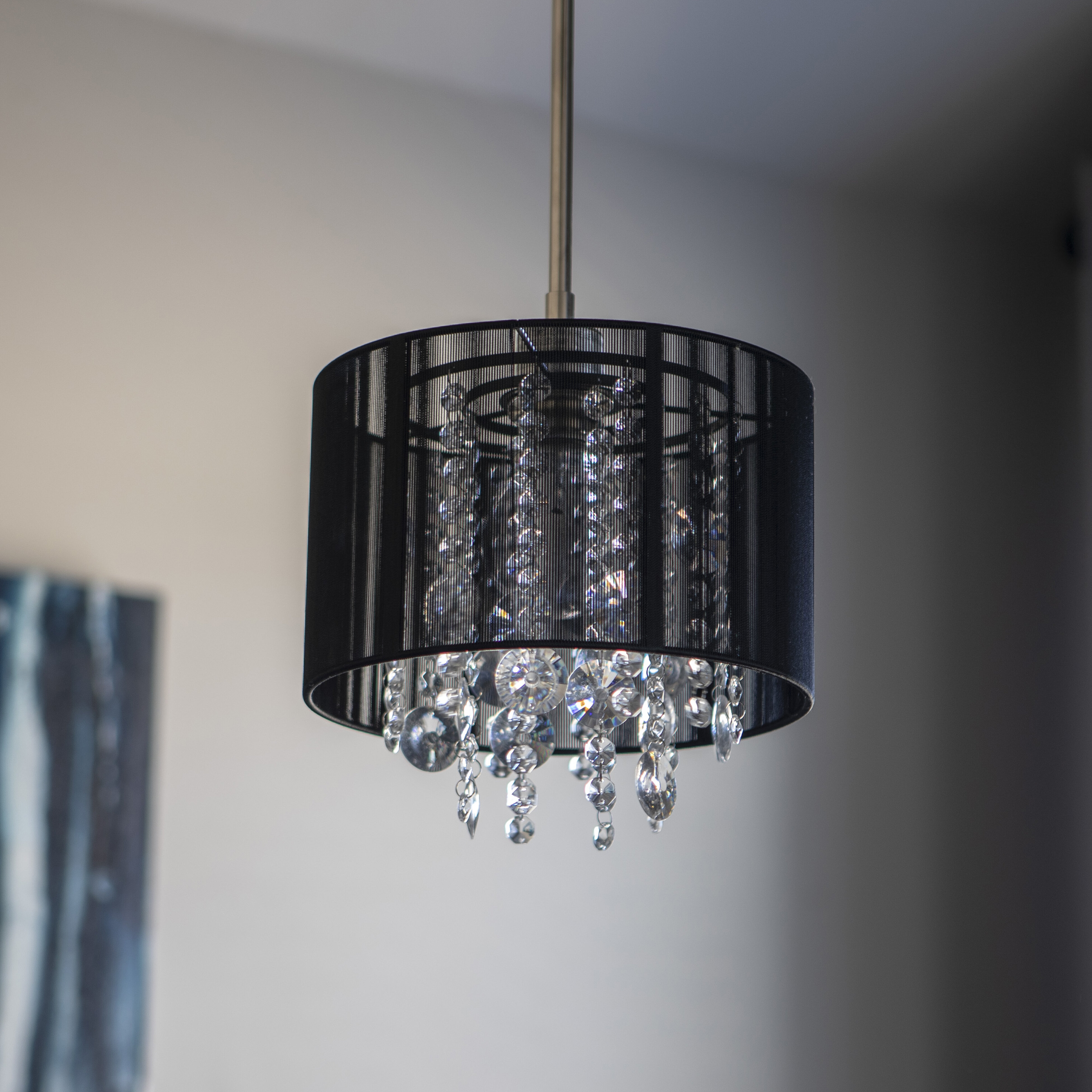 House Of Hampton Andersen 1 Light Unique Statement Drum Pendant With Crystal Accents Wayfair