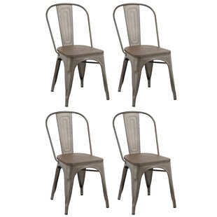 Linneus Metal Solid Wood Dining Chair Set Of 4