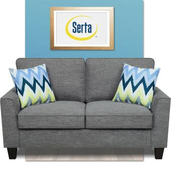 Serta At Home Copenhagen Microfiber 60 Rolled Arm Loveseat Reviews Wayfair