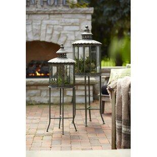 Metal/Glass Lantern Set by Melrose International