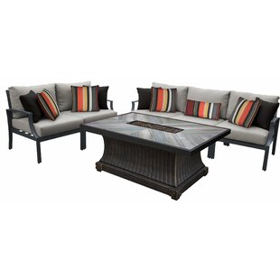 Brodeur Outdoor Aluminum 6 Piece Sectional Seating Group with Cushion