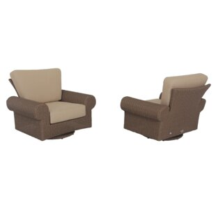 Pacific Shoreline Rocking Swivel Patio Chair with Cushions (Set of 2)