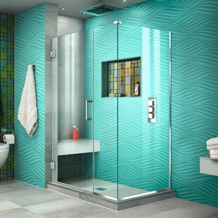 Unidoor Plus 42.5 x 72 Hinged Frameless Shower Door with Clear Max Technology by DreamLine