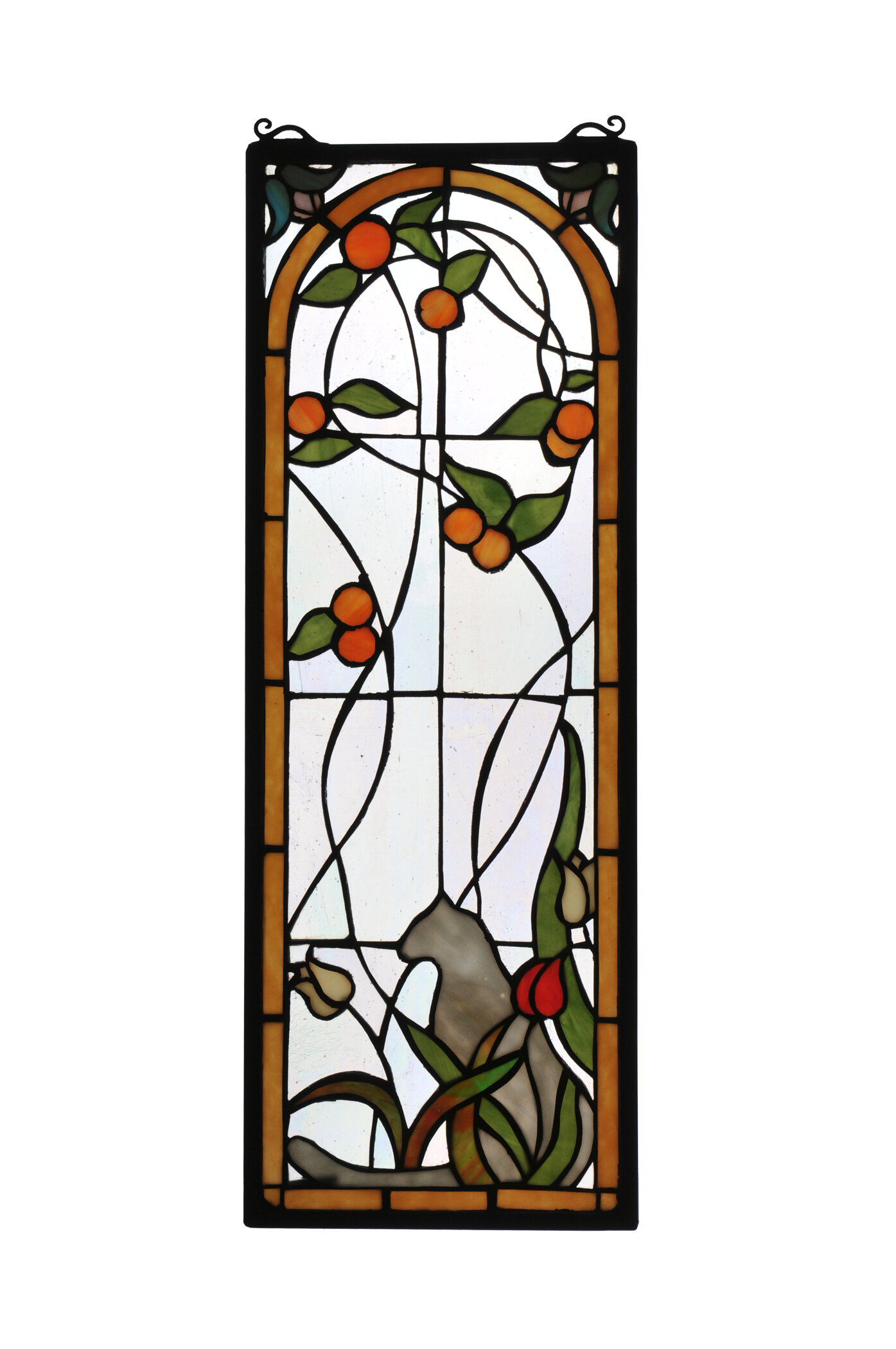 Cat And Tulips Stained Gl Window