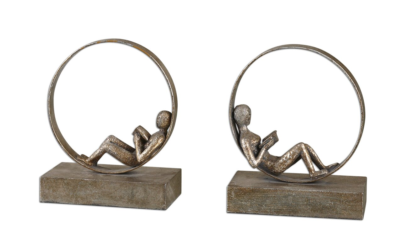 2 Piece Lounging Reader Figurine Set