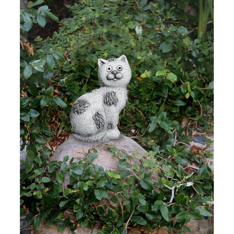 Red Barrel Studio Spada Solar Cat Garden Statue Wayfair