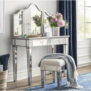 Lyra 2-Piece Mirrored Vanity & Stool Set by Willa Arlo Interiors