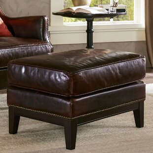 Ernest Leather Ottoman by Harbor House