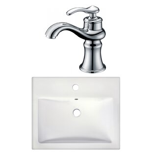 Inexpensive 1 Hole Ceramic Rectangular Drop-In Bathroom Sink with Faucet ByAmerican Imaginations