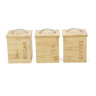 3 Piece Bamboo Kitchen Canister Set