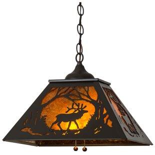 Meyda Tiffany Greenbriar Oak Elk at Dawn 2-Light Dome Pendant