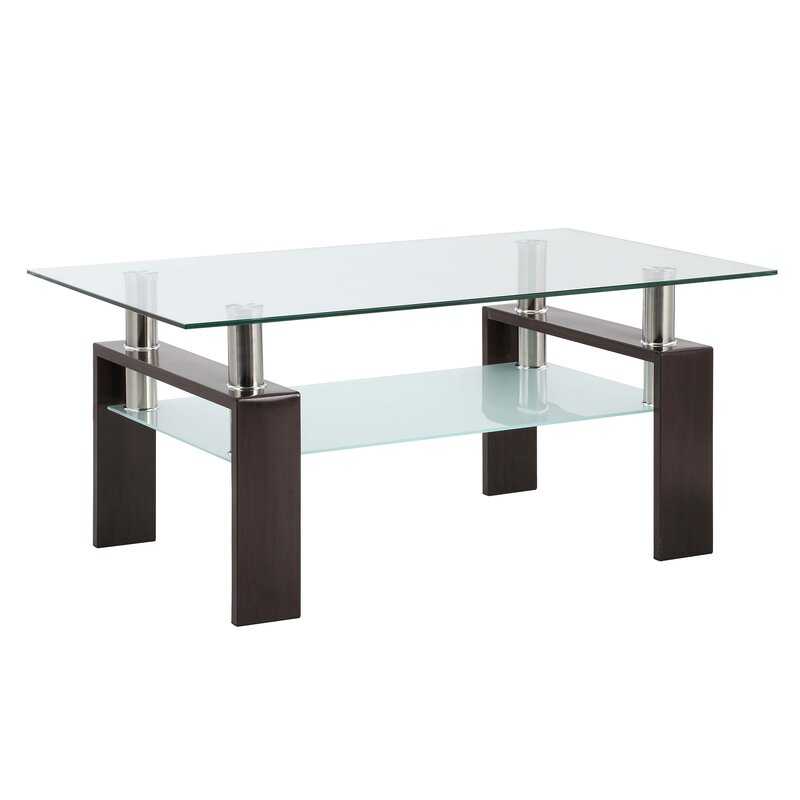 Wrought Studio Rectangle Black Glass Coffee Table Clear Coffee Table Modern Side Centre Tables For Living Room Living Room Furniture Wayfair Ca