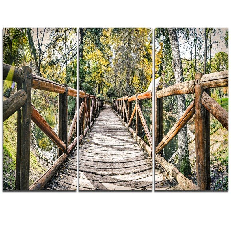 Designart Wooden Bridge In Forest 3 Piece Photographic Print On Wrapped Canvas Set Wayfair Ca