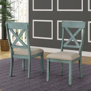 Cierra Two-Tone Wood Cross Back Dining Chair (Set of 2) Ophelia & Co.