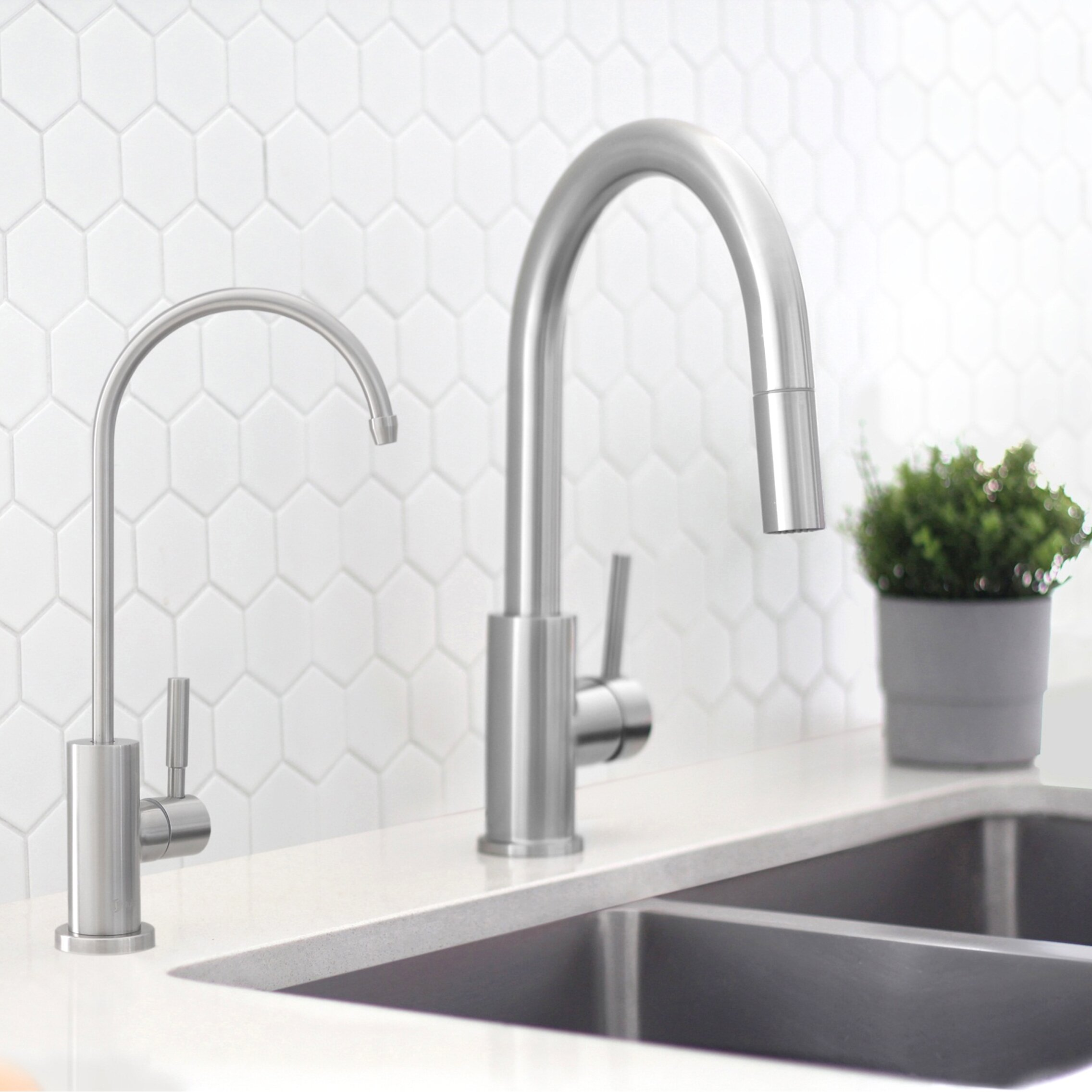TJJL Kitchen Tap Kitchen Faucet Dual Spout Drinking Water Filter Brass 3 Color Purifier Vessel Sink Mixer Tap Hot And Cold Water