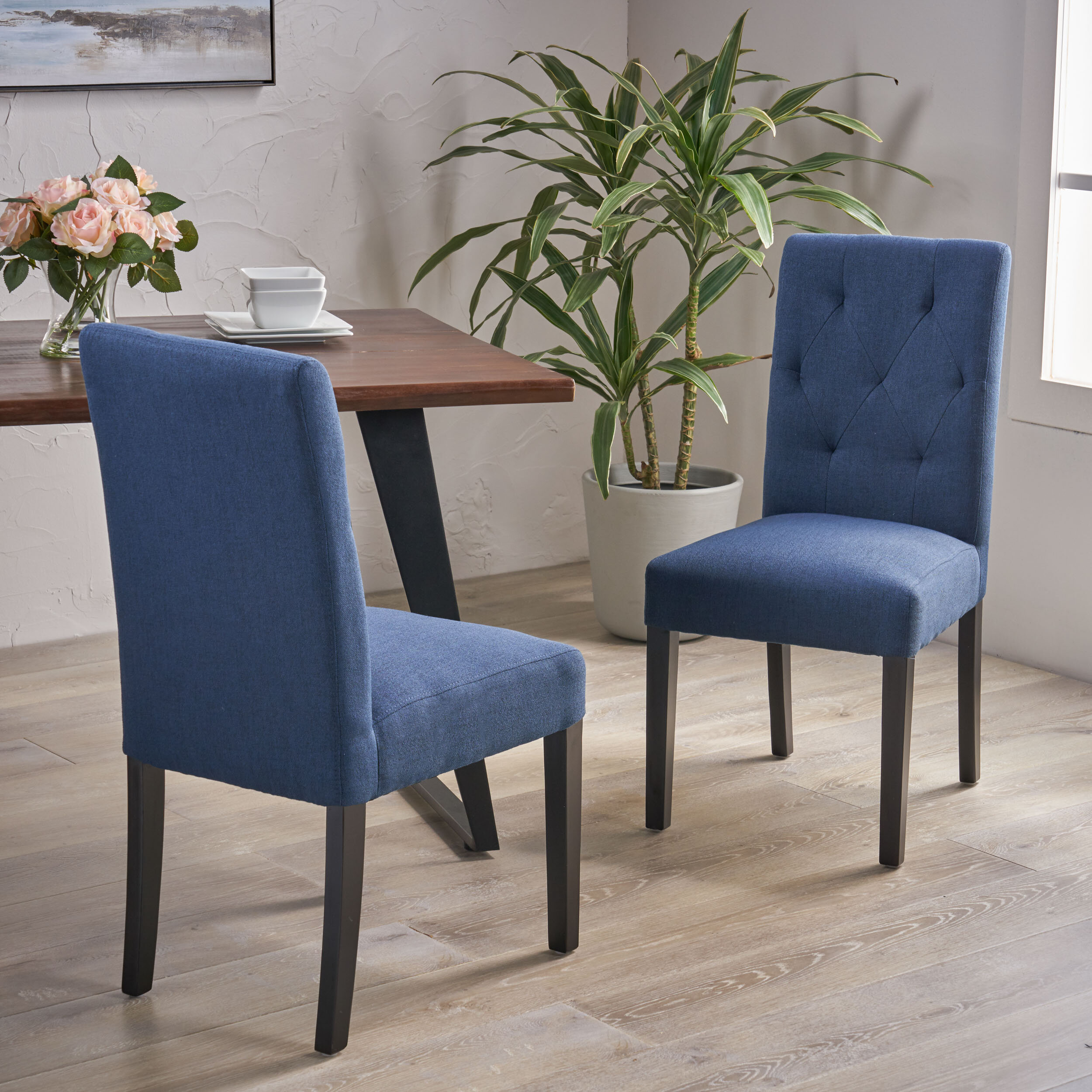 Picture of: Red Barrel Studio Upholstered Dining Chair In Navy Blue Wayfair