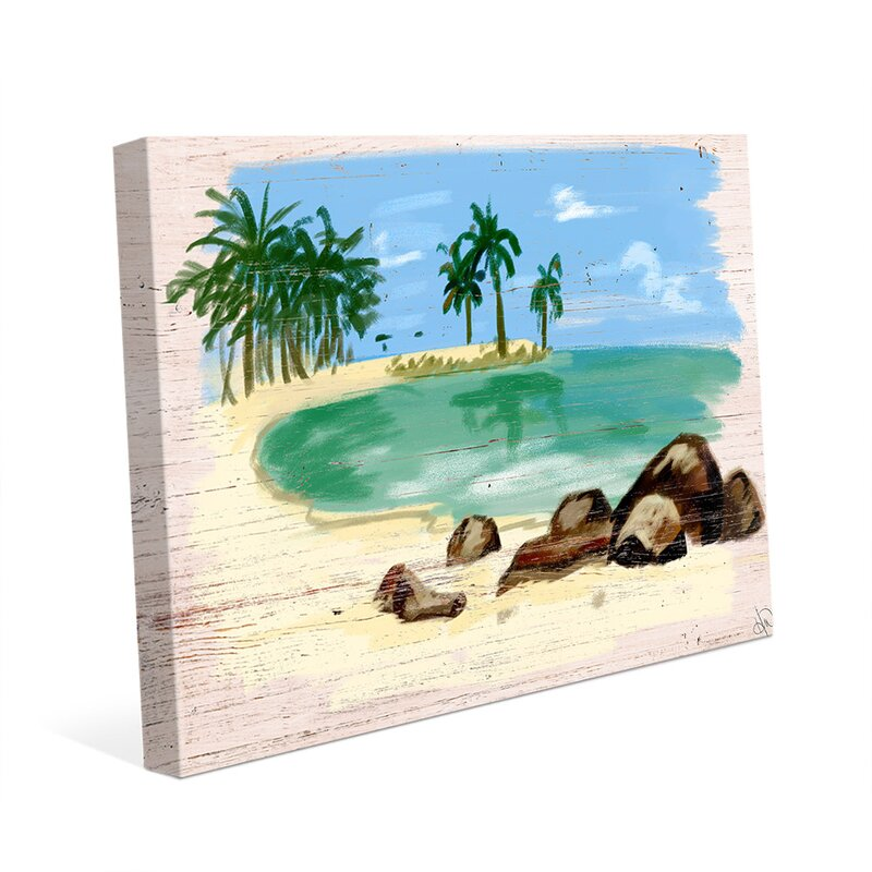 Click Wall Art Beach On Wood Painting Print On Wrapped Canvas Wayfair