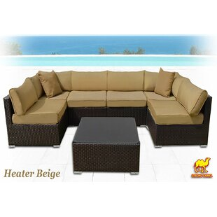 Ilebo 7 Piece Rattan Sectional Set with Cushions