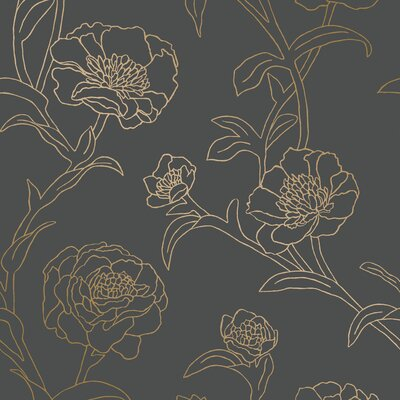 Three Posts Maymie 198 L x 20.5 W Foiled Peel and Stick Wallpaper Roll Color: Noir