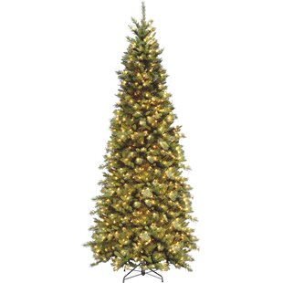 fir 9 green slim artificial christmas tree with 700 pre lit clear lights with stand - Artificial Christmas Trees Prelit