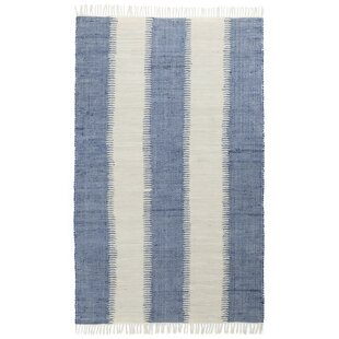 Best Reviews Bruges Jagged Handmade-Flatweave Cotton Blue/White Area Rug ByHighland Dunes