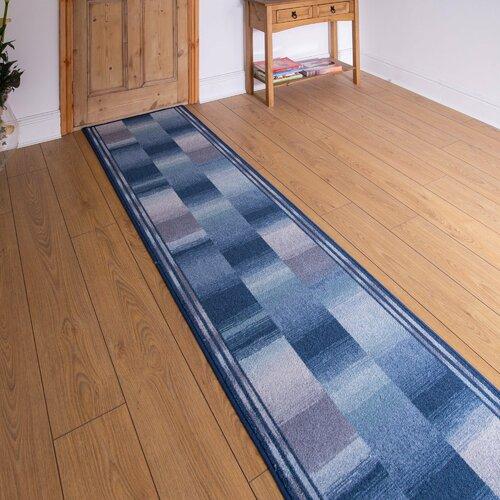 Almeida Looped Blue Hallway Runner Rug Rosalind Wheeler Rug