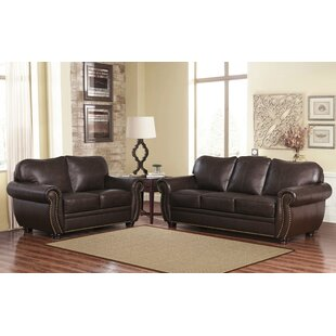 Darby Home Co Morgenstern 2 Piece Leather Living Room Set