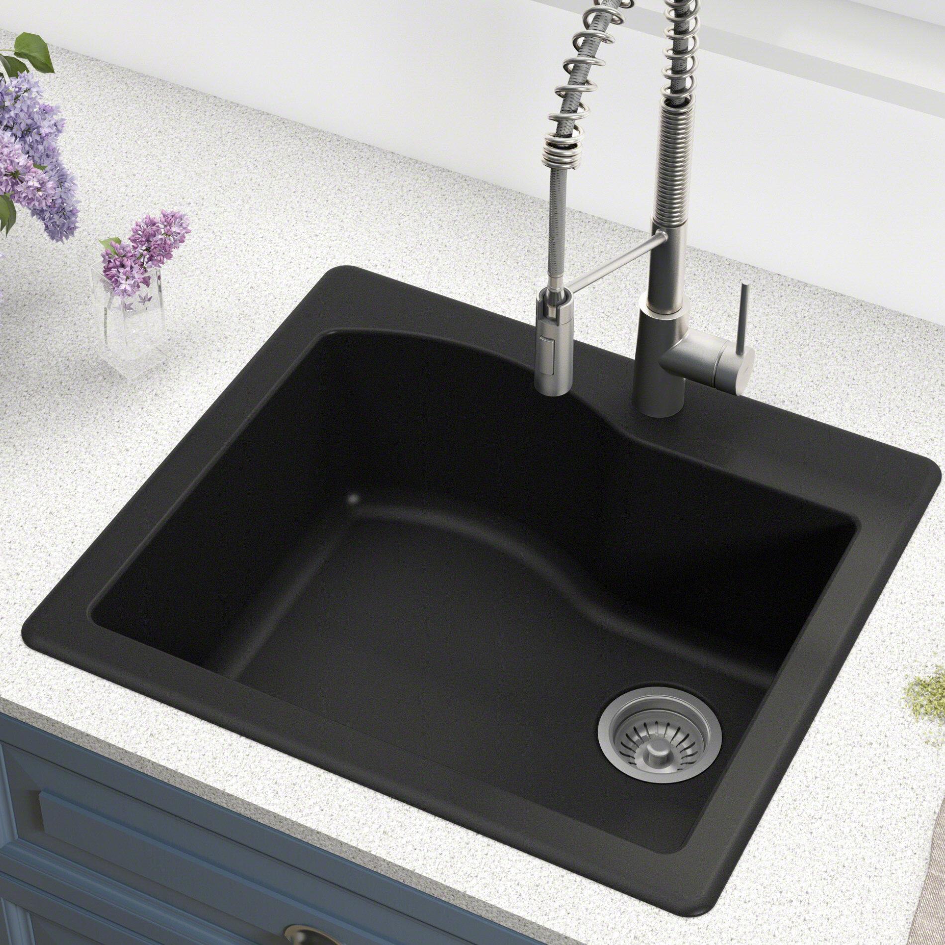 Kgd 441black quarza 25 x 22 dual mount kitchen sink