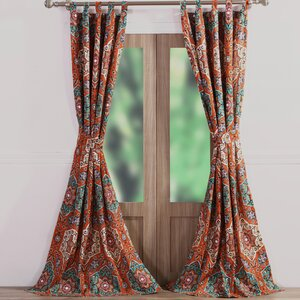 Sofia Geometric Sheer Tab Top Curtain Panels (Set of 2)