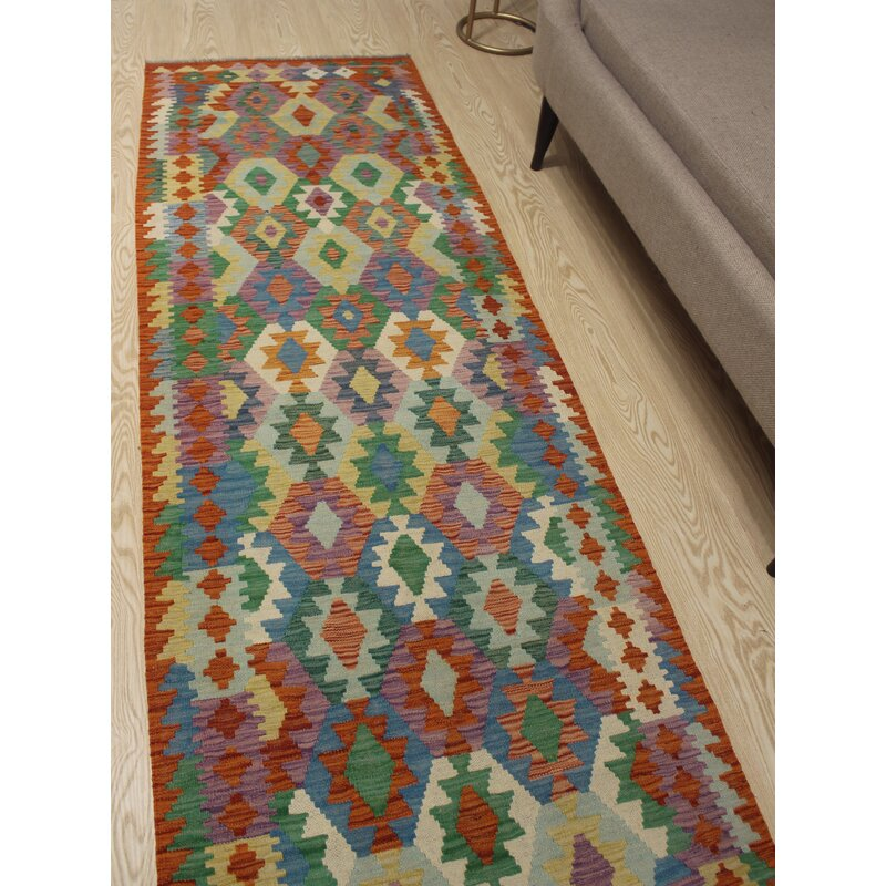 Foundry Select Runner Hults Southwestern Hand Woven Wool Red Green Area Rug Wayfair