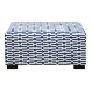 Wrought Studio Farfan Blue And White Ottoman