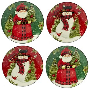 Winter's Plaid 4 Piece Dinner Plate Set