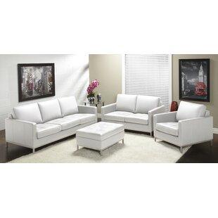 Corniche Leather Configurable Living Room Set by Orren Ellis