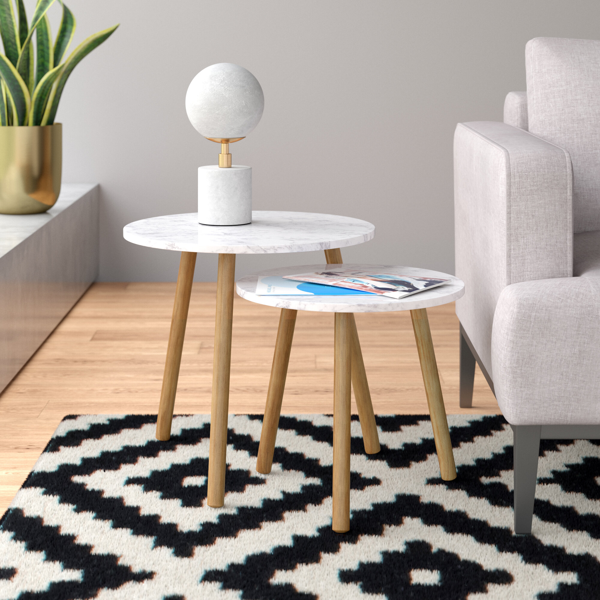 Picture of: Benton 2 Piece Nesting Tables Reviews Allmodern