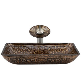 Greek Temepered Glass Rectangular Vessel Bathroom Sink with Faucet