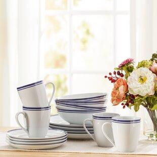 Wayfair Basics 16 Piece Striped Porcelain Dinnerware Set, Service for 4