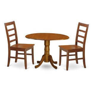 Spruill 3 Piece Drop Leaf Solid Wood Dining Set August Grove