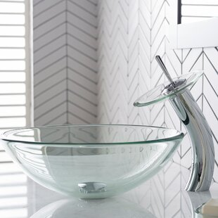 Great Price Clear Glass Glass Circular Vessel Bathroom Sink with Faucet By Kraus