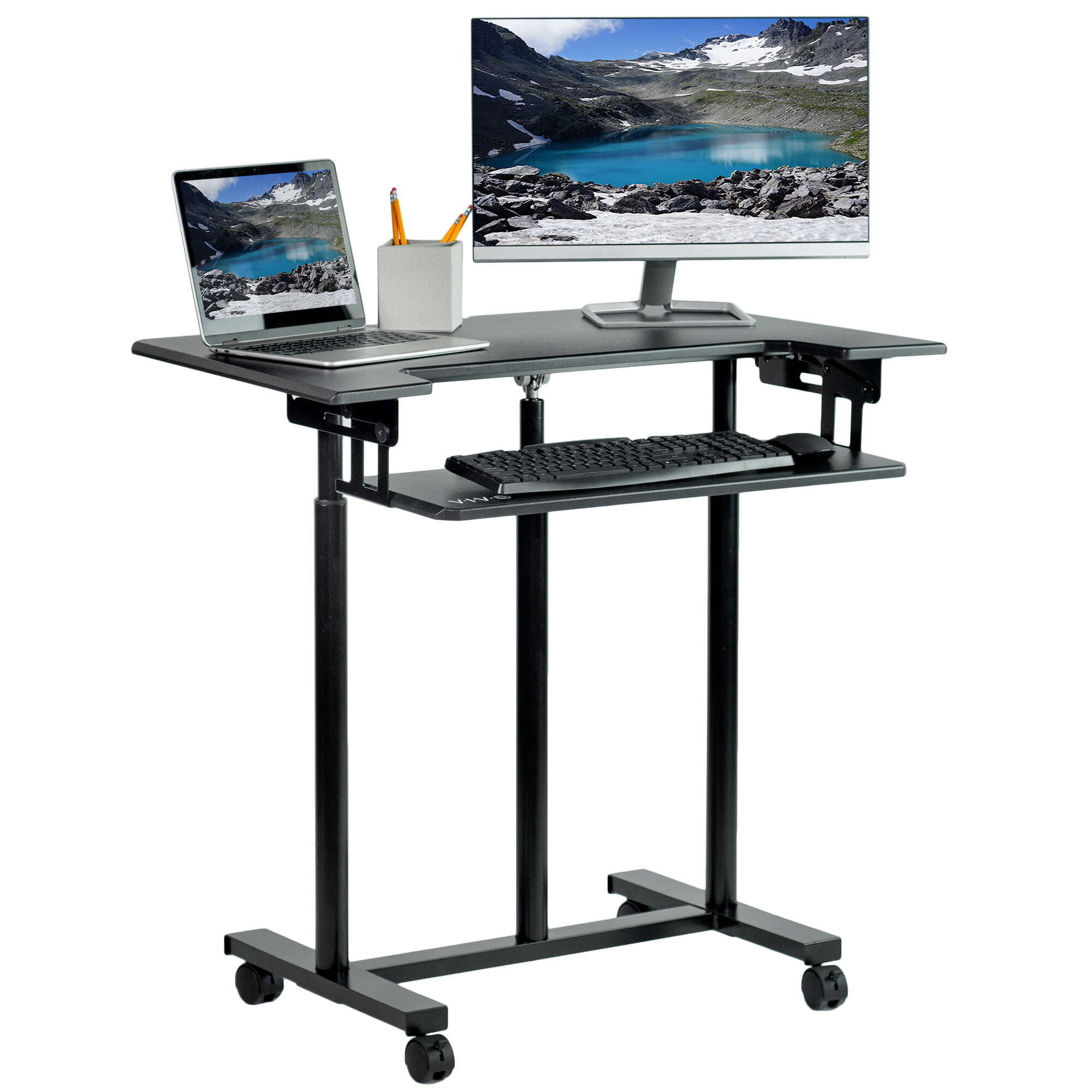 Vivo Mobile Stand Up Desk Adjustable Laptop Cart Reviews Wayfair