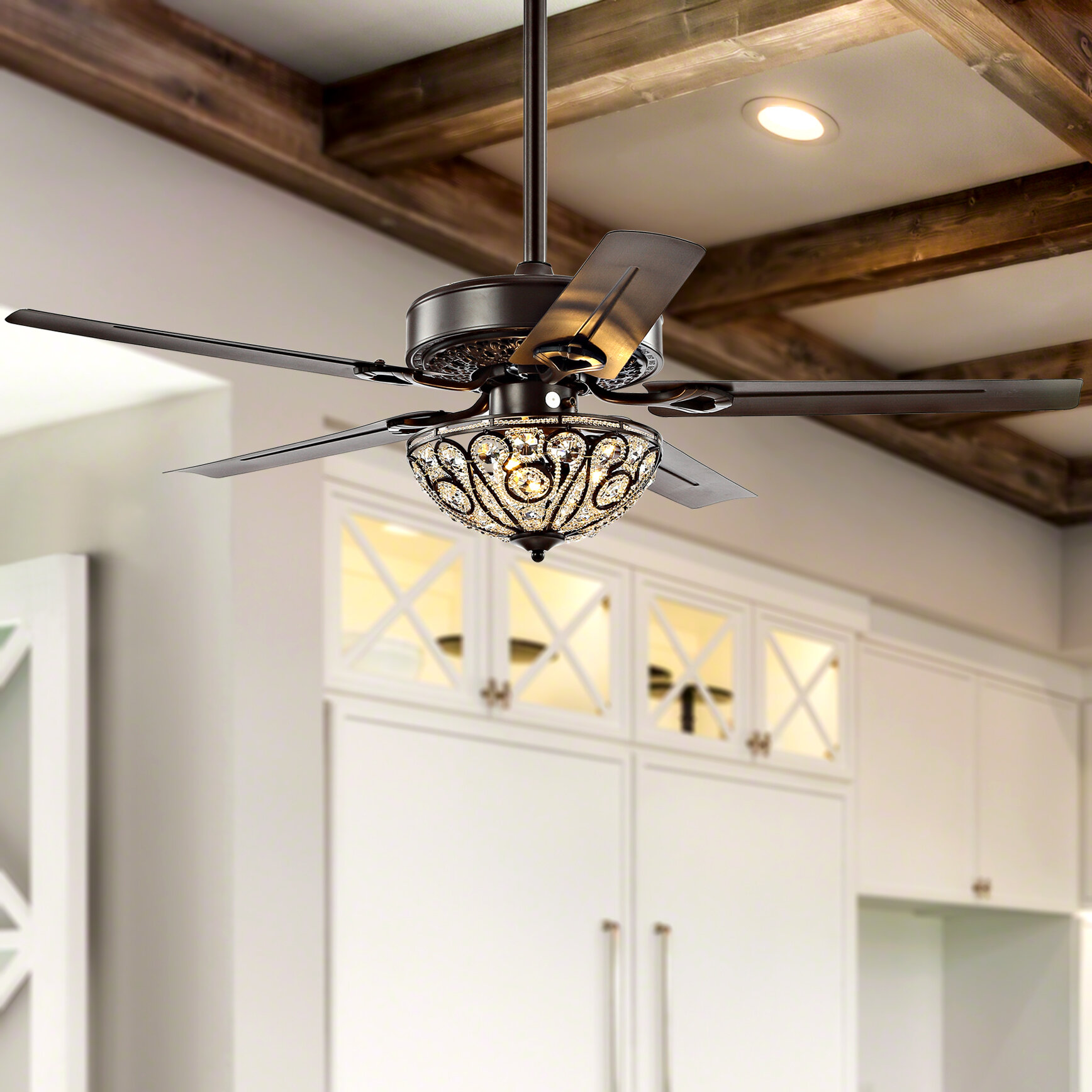 Rosdorf Park 48 Chicago 5 Blade Crystal Ceiling Fan With Remote Control And Light Kit Included Reviews Wayfair
