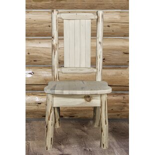 Abordale Rustic Solid Wood Dining Chair Loon Peak