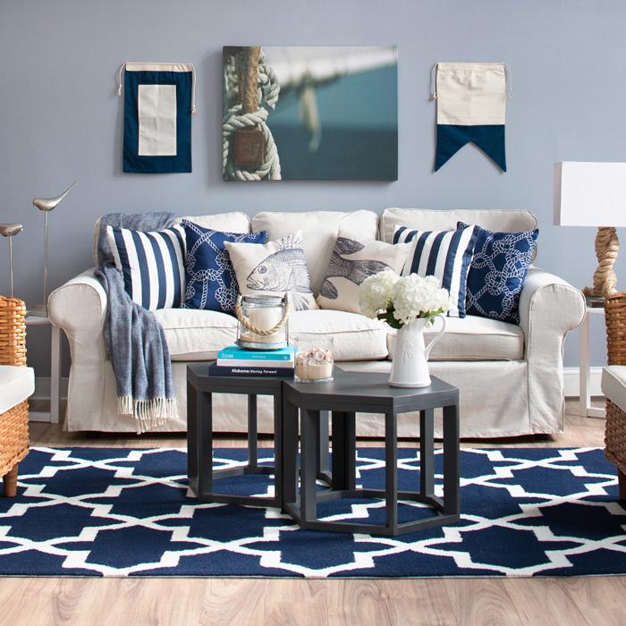 Coastal furniture and nautical decor joss main - Nautical theme living room ...