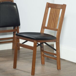 Berkshire Wood Folding Chair With Vinyl Seat (Set Of 2)