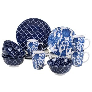 Clair Blue 16 Piece Dinnerware Set, Service for 4