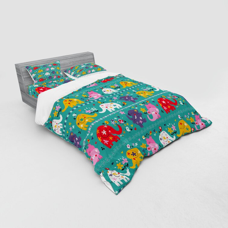 Ambesonne Nature Fitted Sheet Pillow Sham Set Bedding Decor in 4 Sizes
