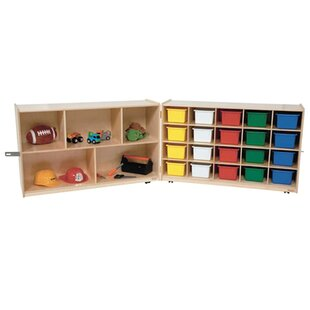 Online Reviews Half and Half Folding Storage 20 Compartment Cubby with Trays By Wood Designs